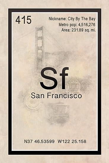 Amazon periodic table city sign san francisco 24x36 posters periodic table city sign san francisco 24x36quot urtaz Choice Image