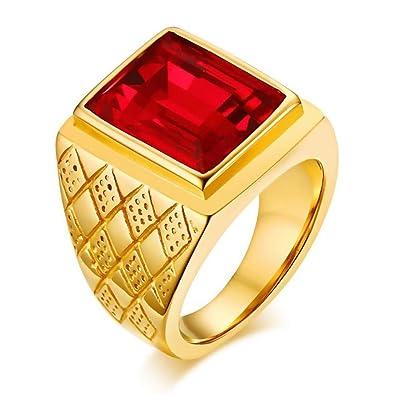454e18e8a969 BOBIJOO Jewelry - El Anillo De Sellar El Hombre Rojo De La Piedra De  Imitación De Ruby Royal Cardinal De La Vendimia De Acero De Oro  Amazon.es   Joyería
