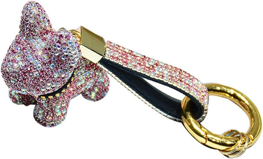 LODIIYAR Llavero de Bulldog Francés de Cristal, Llavero de Perro con Correa de Cuero de Diamantes de imitación, Llavero con Purpurina, Accesorios de Llavero para Encanto de Mochila (Rosa en Blanco)