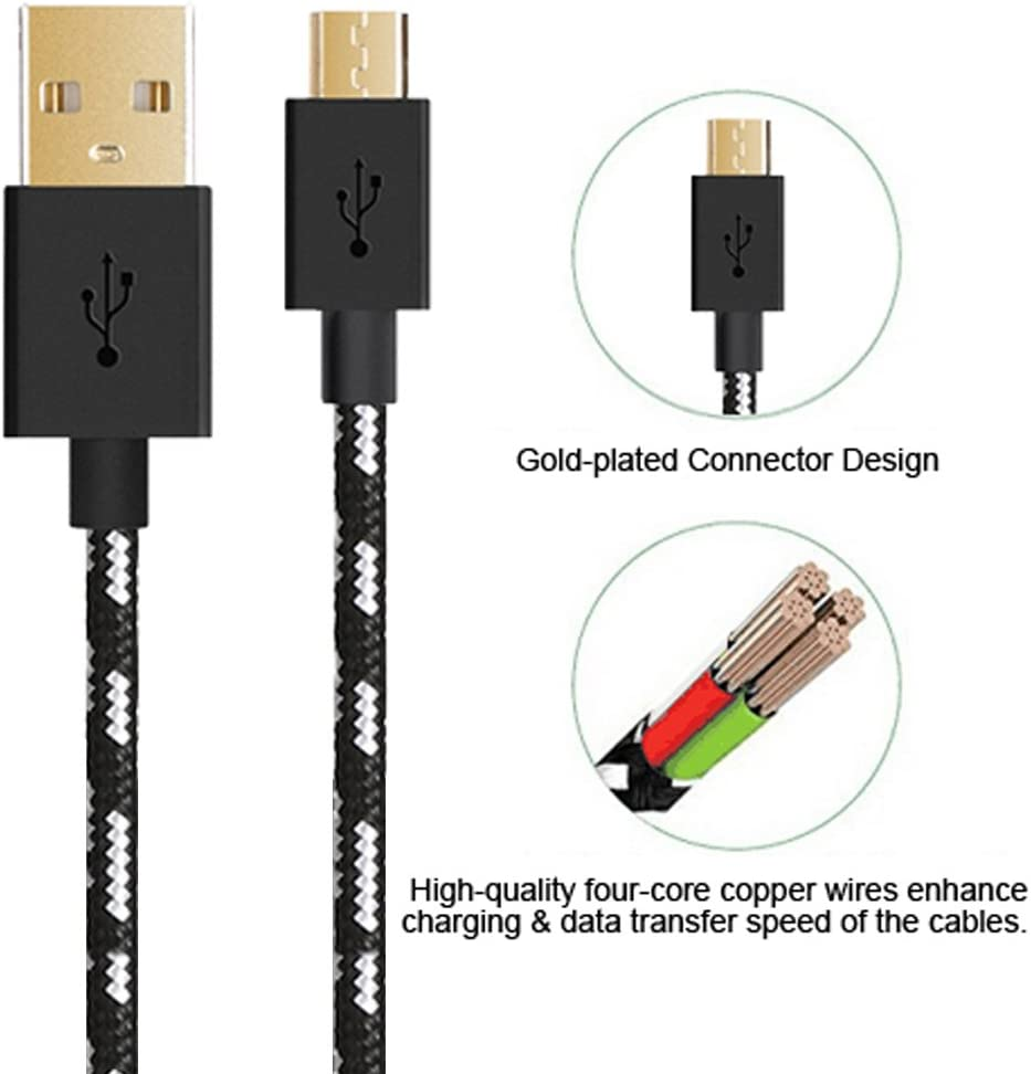 Black Micro Usb Cable Android Charger 5 pack premium Nylon Braided High Speed Durable Charging Cable for Android Samsung,Nexus,LG,HTC,Nokia,Sony,and More