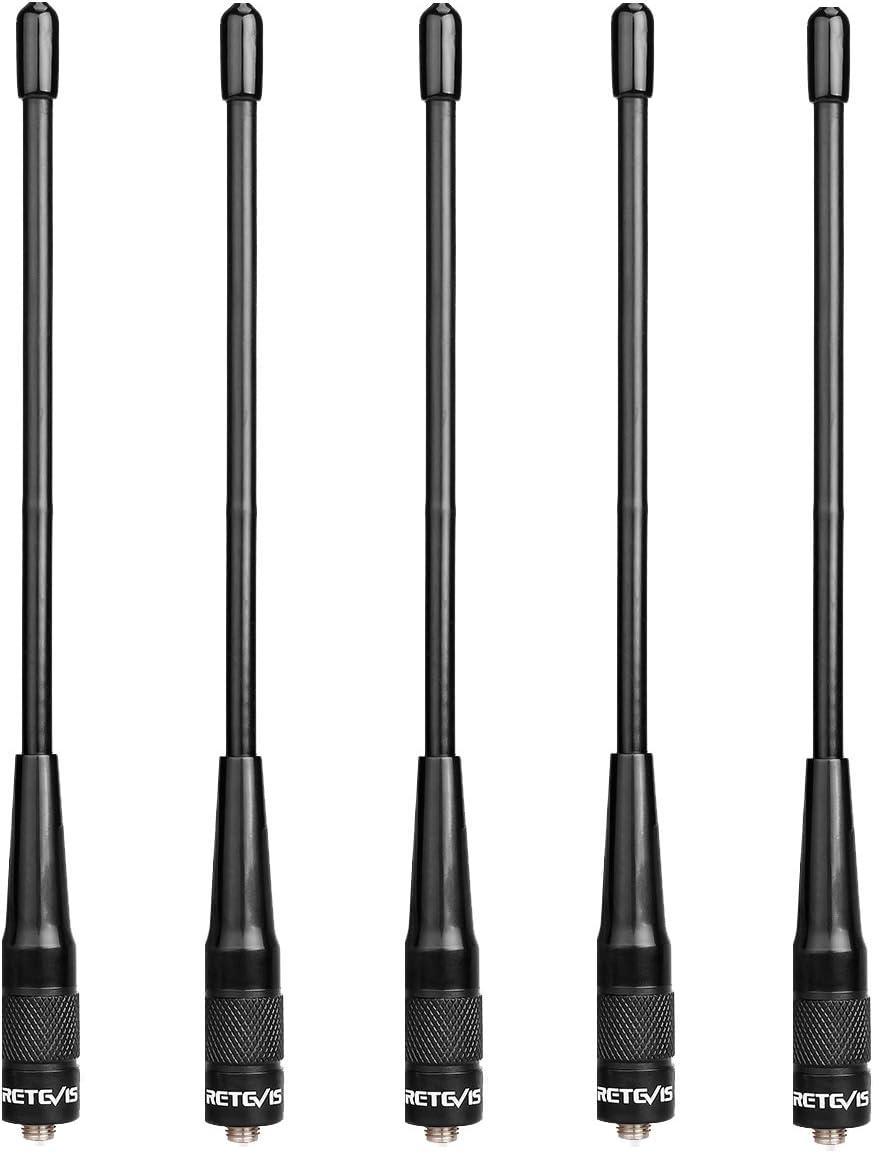 Retevis RHD701 Walkie Talkie Antena SMA-F Doble Banda VHF/UHF Compatible con Walkie Talkie Retevis RT5R RT5 RT5RV RT7 RT21 Baofeng UV-5R UV-5RA UV-5RB ...