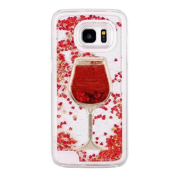 best sneakers 687ec d1a71 Galaxy S7, Galaxy S7 Liquid Glitter Case, QKKE [Wine Glass Quicksand] 3D  Glitter Bling Hearts Flowing Liquid Heart Clear Hard Case for Samsung  Galaxy ...