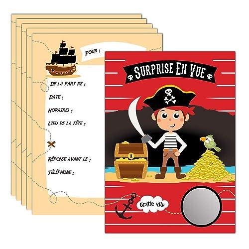 Jeune 6 cartes d'invitation à gratter anniversaire Pirate Bateau de TZ-11