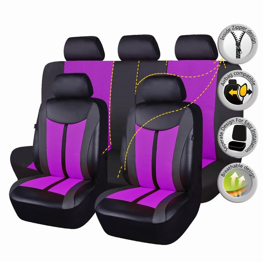 Flying Banner Housses de si/èges de voiture en PU et en maille respirante compatible airbags