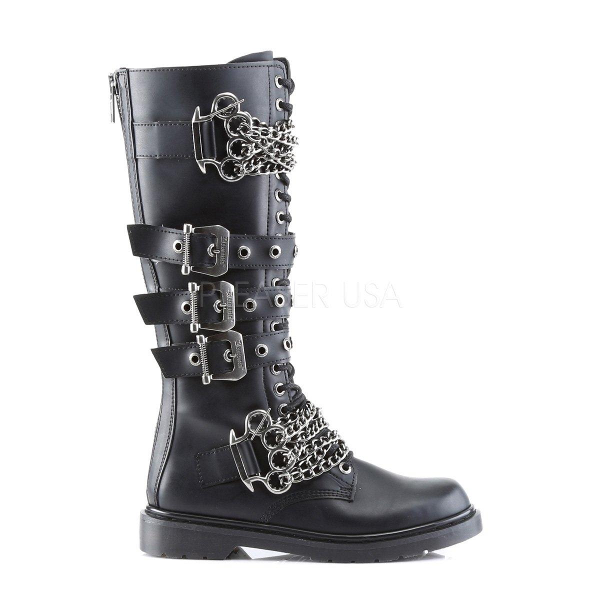 Demonia Unisex Defiant 402 Combat Boots Black Vegan Leather 6 M