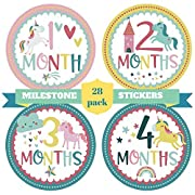 28 Baby Girl Monthly Stickers and 2 Infant Head Bows Set – Babies Milestones and First Holidays Stickers Pack for Newborn Princesses – Unique Unicorn Design – Original Baby Shower Gifts