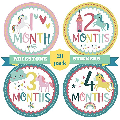 Unicorn Keepsake (28 Baby Girl Monthly Stickers and 2 Infant Head Bows Set – Babies Milestones and First Holidays Stickers Pack for Newborn Princesses – Unique Unicorn Design – Original Baby Shower Gifts)
