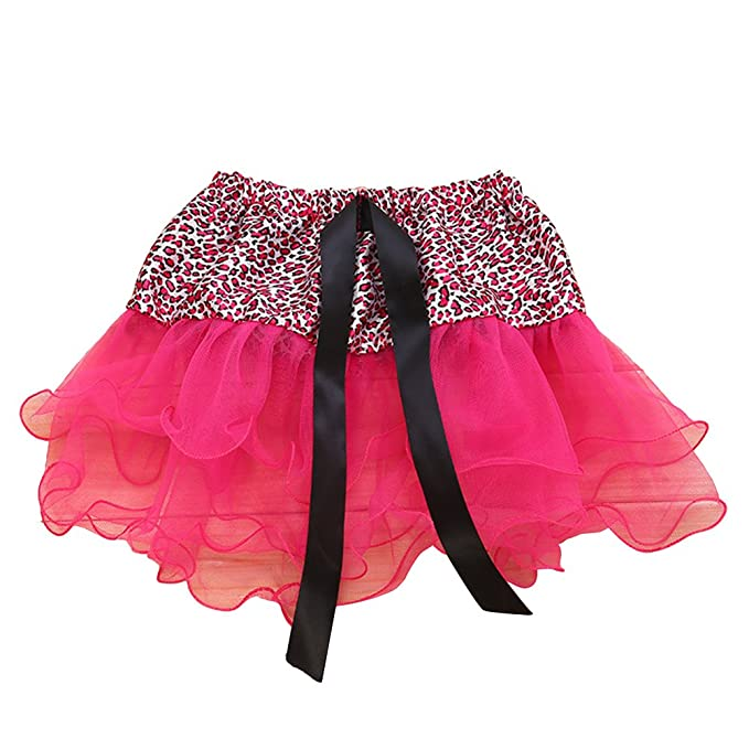 de242b4764 Fenical Children Girls Leopard Print Tutu Skirt Ballerina Pettiskirt 3  Layered Fluffy Ballet Skirts (Rose Red): Amazon.co.uk: Clothing