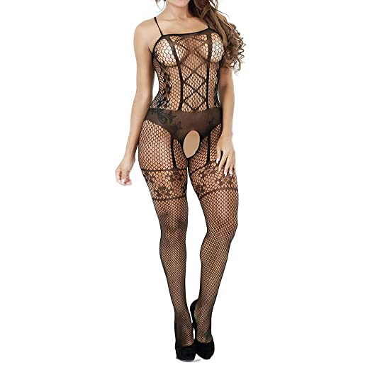 dfe8fb2952 Usstore Women Mesh Lingerie Jumpsuit Sexy Perspective Hollow Sling  Crotchless Stockings Clubwear Tight Siamese (one