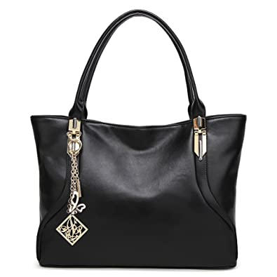 58fe2fe6badc Amazon.com  DALFR PU Vegan Leather Handbags For Women Simple Laides  Shoulder Tote Bags Purse (Black)  Shoes