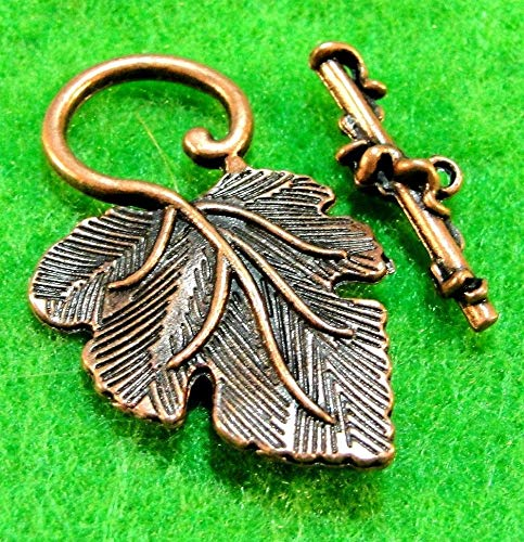 5Sets Antique Copper Large Leaf Toggle Clasps Connectors Tibetan Findings C248A Jewelry Making Supply Pendant Bracelet DIY Crafting by Wholesale Charms