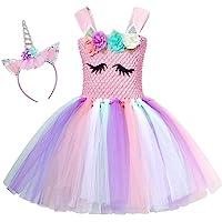 AmzBarley Unicorn Headband Dress Layered Tutu Costume Kids Set Birthday Party