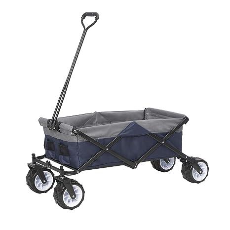 E-starain Carrito Playa Plegable con Ruedas Máx 80kg,Buena relación Calidad-Precio,Tela Oxford 117 * 50 * 52CM (LxWxH) Color Azul+Gris LAE0002