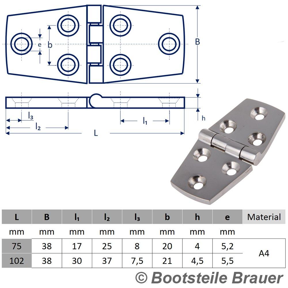 2 Edelstahl Scharniere PRISMA symmetrisch 38 x 76 mm Edelstahlscharnier Edelstahl A4 T/ürscharnier Beschlag T/ürscharnier