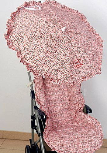 Colchoneta para silla de paseo universal flor roja con sombrilla mas bolso de regalo. Funda silla de coche. Mundi Bebé.