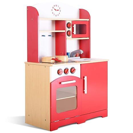 COSTWAY Cucina per Bambini Cucina Giocattolo in Legno con Accessori ...