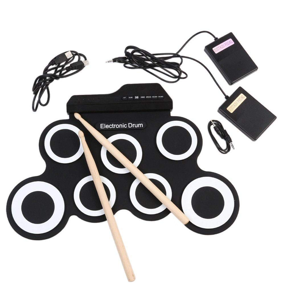 EDTara Electronic Drum Set,Portable Digital USB 7 Pads Roll Up Drum Set Silicone Electric Drum Pad Kit with DrumSticks Foot Pedal General