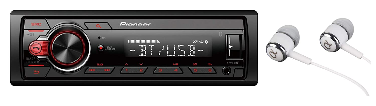 Pioneer MVH-S215BT Stereo Single DIN Bluetooth In-Dash USB MP3 Auxiliary AM/FM Android Smartphone Compatible Digital Media Car Stereo Receiver With Free ALPHASONIK Earbuds