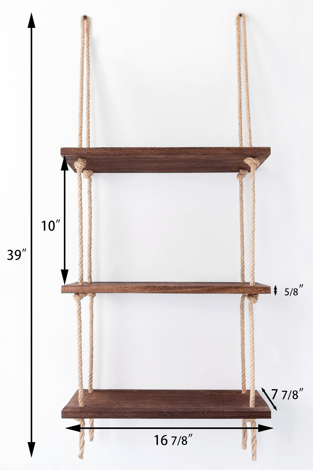 Mkono Wood Hanging Shelf Wall Swing Storage Shelves Jute Rope Organizer Rack, 3 Tier - This wood hanging shelf is the perfect storage and decorate shelf for many rooms in the home. Living room for organize your books, lovely plants or candle, kitchen for storage spices or coffee cups, bathroom to hold towel, makeup or nail polish, bedrooms for display photo frames and mementos. Material: Paulownia wood, jute rope, strong and durable. The props in the picture are not included. Can be installed in window or wall space and incorporated easily into any space, like hang it in store to organize special item. Or will be fun in a garden or porch setting to hold your plants! - wall-shelves, living-room-furniture, living-room - 61LMMl7d3tL -