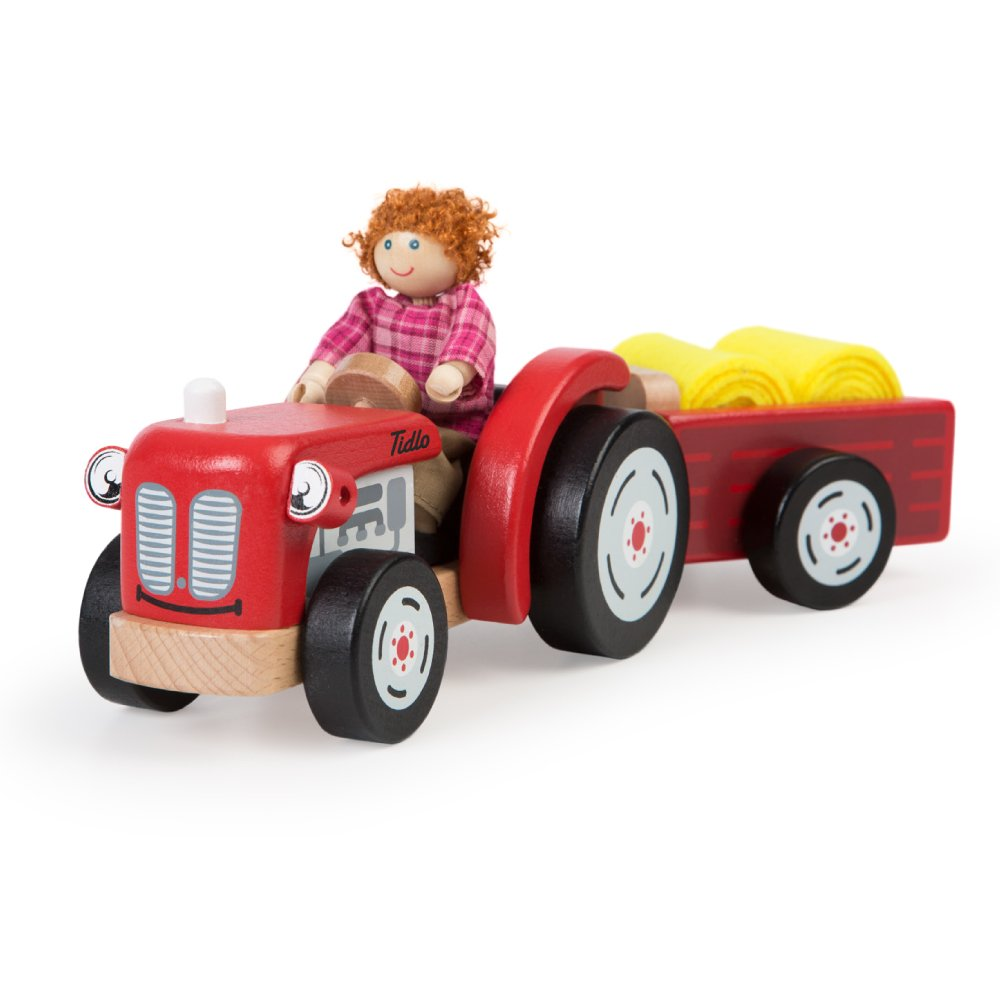 Bigjigs Toys T0502/Tracteur et remorque en Bois avec Foin