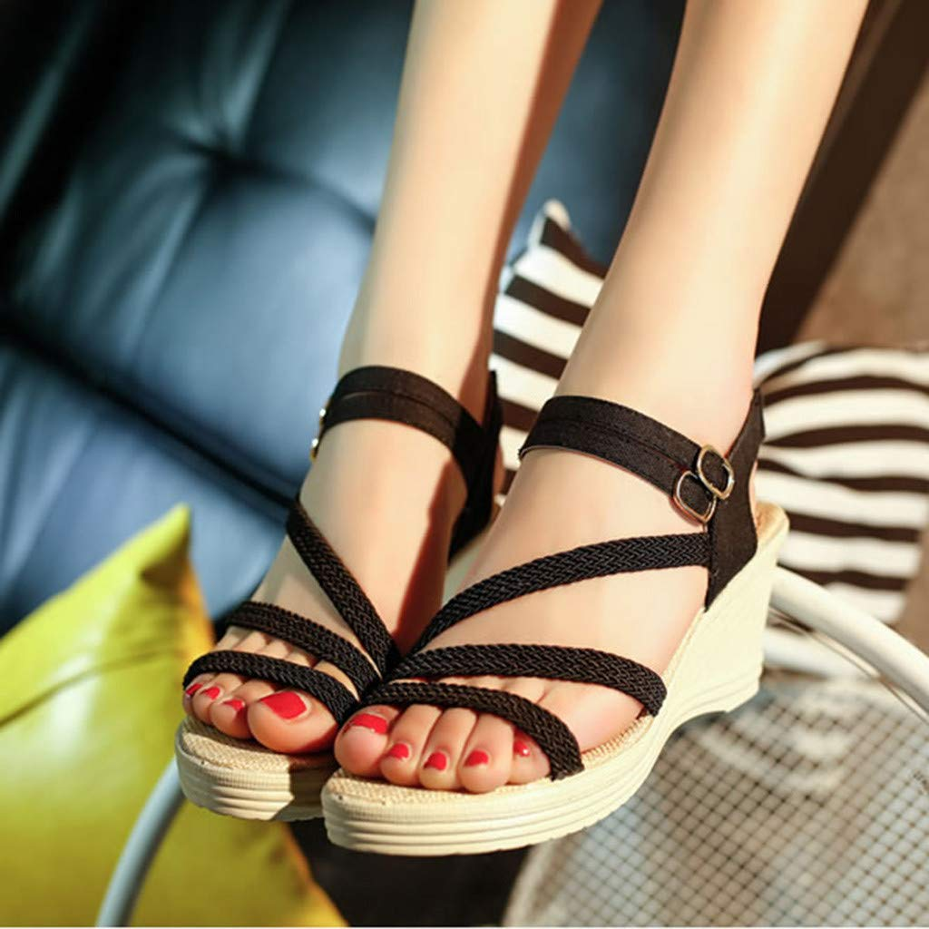 Summer Sandals for Women 2019 Womens Fashion Casual Roma Solid Buckle Platform High Heel Shoes Wedges