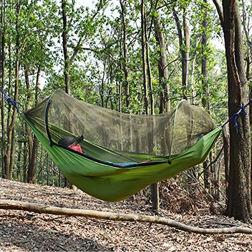 - m·kvfa Ultralight Portable Travel Camping Hammock Built-in Mosquito Net and Storage Pouch Hiking Hammock Comfortable Outdoor Indoor Garden Hammock with Strong Ropes 200kg Load-Bearing (Army Green)