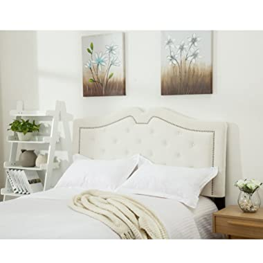 Haobo King Size Headboards Eastern King/California King Nailhead Linen Upholstered Headboard with Height Adjustments, Ivory A (Queen, White)