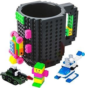 BOMENNE Build-on Brick Mug,Novelty Creative Compatible with Lego DIY building Blocks Coffee Cup with bricks,is unique Christmas gift Idea (Black)