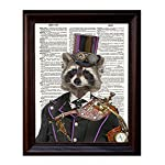 "Fresh Prints of CT Dictionary Art Print - Steampunk Racoon Colonel Roderick Racoonbottom - Printed on Recycled Vintage Dictionary Paper - 8""x11"" - Mixed Media Poster on Vintage Dictionary Page 6"