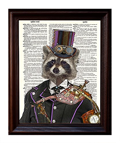 "Fresh Prints of CT Dictionary Art Print - Steampunk Racoon Colonel Roderick Racoonbottom - Printed on Recycled Vintage Dictionary Paper - 8""x11"" - Mixed Media Poster on Vintage Dictionary Page 3"
