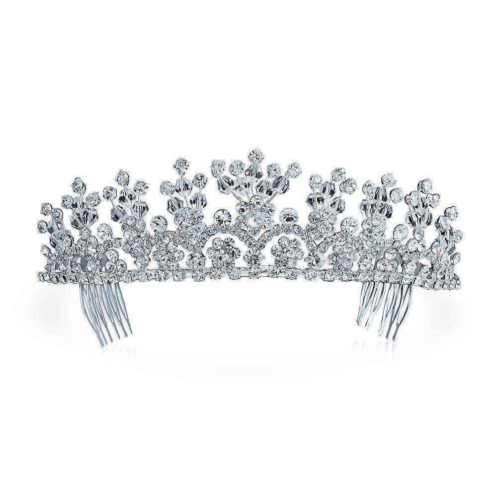 Bling Jewelry Rhinestone Flower Princess Bridal Tiara Crown Silver Plated TK-RT-T1562