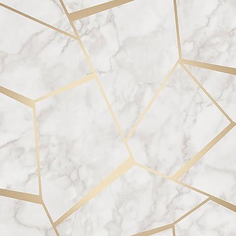 Fine Decor Fd42265 Papier Peint Motif Géométrique Marbre Doré Blanc