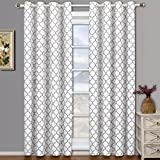 Meridian White Grommet Blackout Window Curtain Drapes, Pair / Set of 2 Panels, 52×84 inches Each, by Royal Hotel