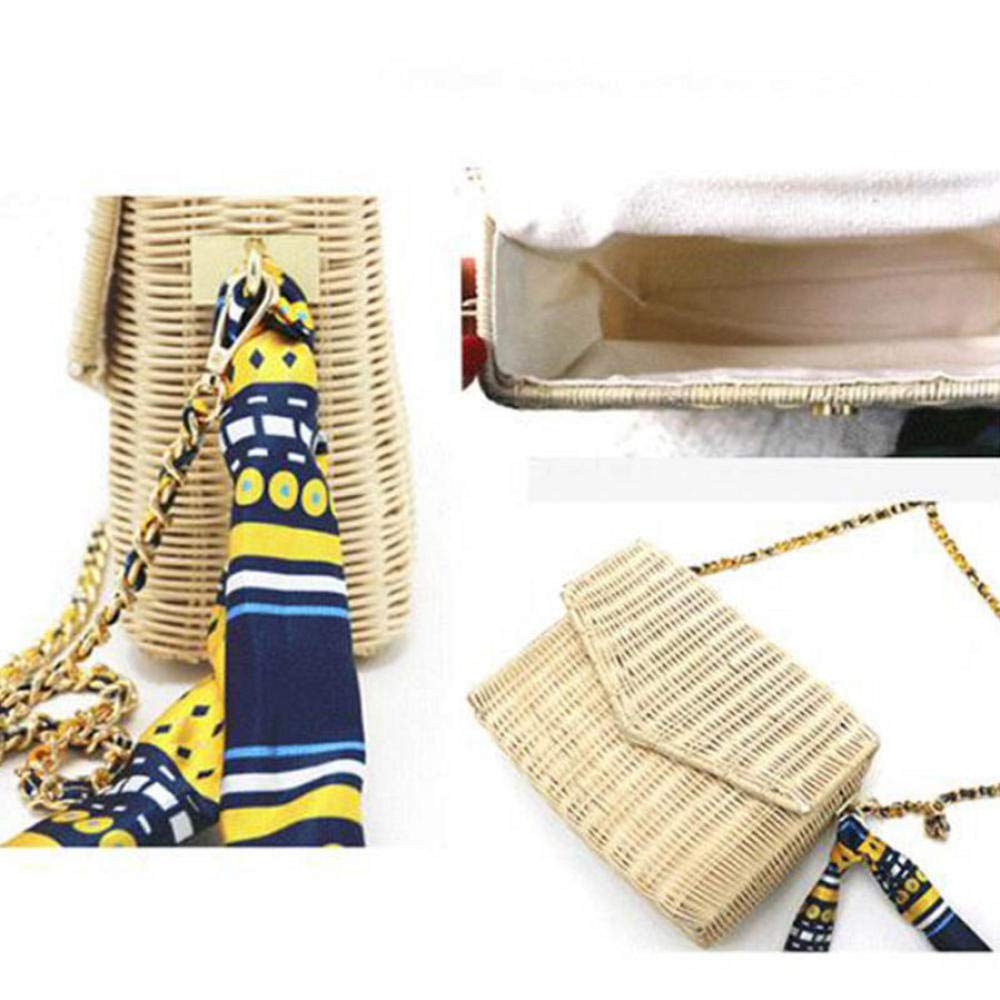 Dwqlx mode rotting halmväskor kvinnor strand crossbody väskor sommar halsduk handväskor damer bohemisk stil axelväska – svart BEIgE