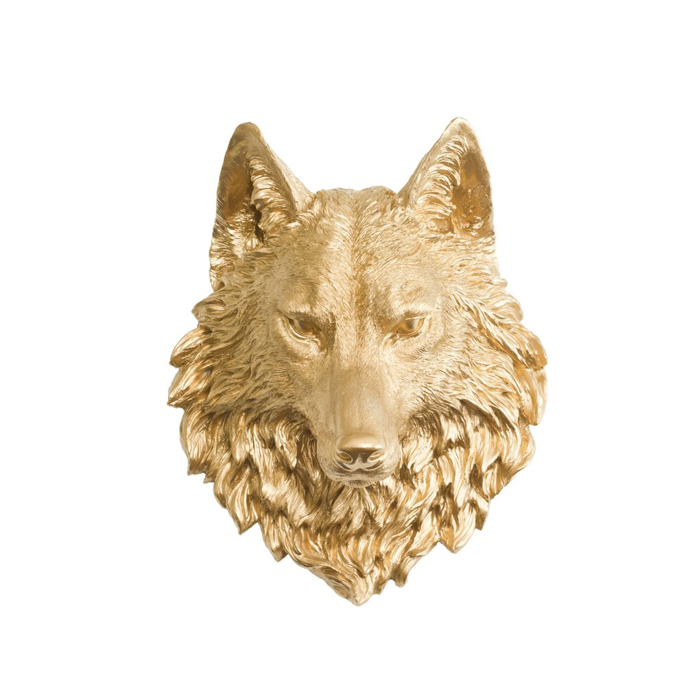 Amazon.com: Wall Charmers Wolf in Gold - Faux Taxidermy Fauxidermy ...