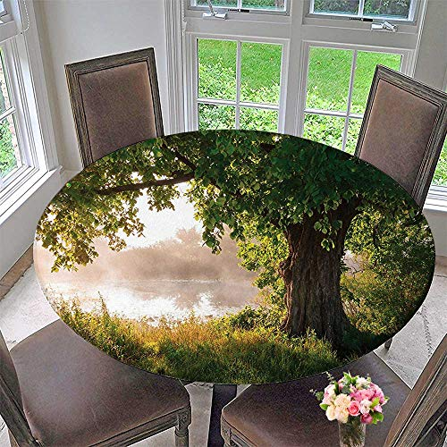 (Mikihome Modern Table Cloth Tree Oak Foggy Scene and Stream View Painting Green Brown White Indoor or Outdoor Parties 67
