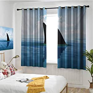 hengshu Shark Blackout Curtains for Bedroom Shark Fish Fin Over The Sea Surface Danger Caution Themed Picture Thermal Insulated Soundproof Curtain W42 x L36 Inch Grey Violet and Pale Blue