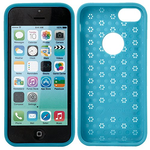 iPhone 5C Case: Amplim® New Slim & Luxury Hard Blue Aluminum Metal + Tough Plastic + Soft TPU Thin Hybrid Protective Back Skin Cover. 3-Layer Heavy Duty Shockproof Protector (APPLE-PHONE-SHIELD-B)