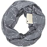 Pocketed Scarf Infinity,Aolvo Zippered Scarf Star Infinity Scarf with Hidden Zipper Pocket,Convertible Travel Pocket Scarf Soft & Fashion for Men/Women Gray