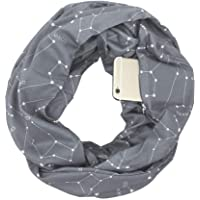 Pocketed Scarf Infinity,Aolvo Zippered Scarf Star Infinity Scarf with Hidden Zipper Pocket,Convertible Travel Pocket Scarf Soft & Fashion for Men/Women