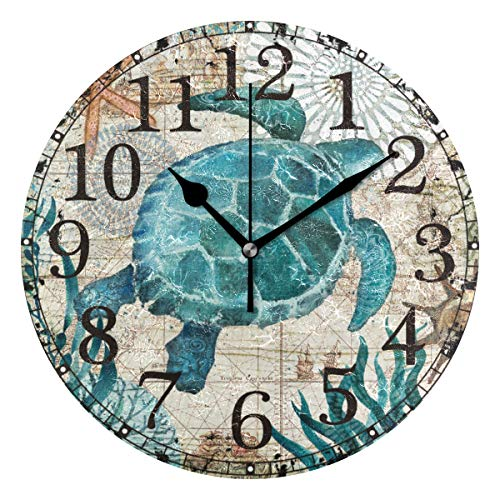 Wall Clock Sea Turtle Seaweed Starfish Blue Round Acrylic Clock Black Large Numbers Silent Non-Ticking 9.45