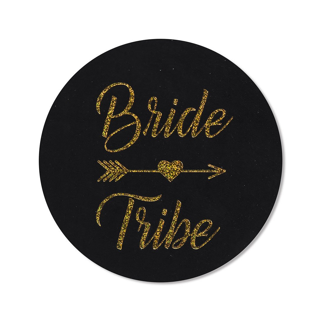 "24-Pack, 2"" Bride Tribe Stickers, Bachelorette Stickers, Black Gold Glitter Bridal Shower Labels"
