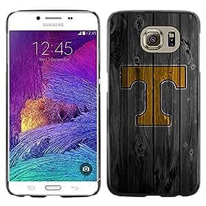 Shell-Star Arte & diseño plástico duro Fundas Cover Cubre Hard Case Cover para Samsung Galaxy S6 / SM-G920 / SM-G920A / SM-G920T / SM-G920F / SM-G920I ( T Initial Wood )