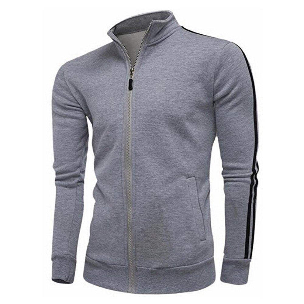 goldenharvest GH Men Soft Zipper Front Stand Collar Sweater Outwear