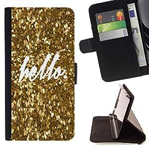 For Samsung Galaxy S5 V SM-G900 Case , Hola Bling del oro de la chispa de texto blanco- la tarjeta de Crédito Slots PU Funda de cuero Monedero caso cubierta de piel