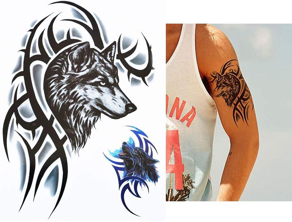 Hommes Tatouage Loup Tribal Noir Et Bleu Bras Tatouage Autocollants Faux Tatouage Hb820 Amazon Fr Beaute Et Parfum