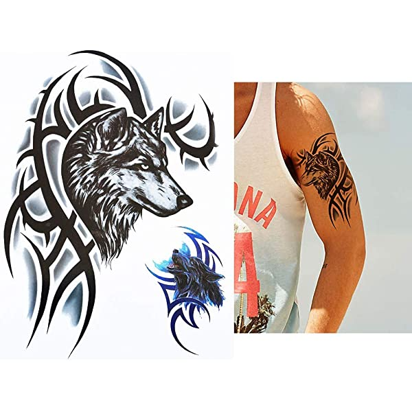 Hombres Tattoo Lobo Tribal Negro y azul brazo tatuaje pegatinas ...
