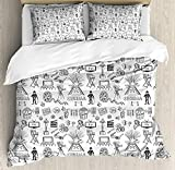 Movie Theater Twin Duvet Cover Sets 4 Piece Bedding Set Bedspread with 2 Pillow Sham, Flat Sheet for Adult/Kids/Teens, Hand Drawn Style Cinema Pattern with Various Different Icons Black and White