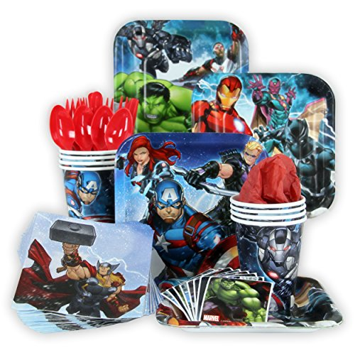 Marvel Epic Avengers Party Pack Seats 8 - Napkins, Plates, Cups, Cutlery & Stickers - Marvel Epic Avengers Party Supplies, Standard Party (Avengers Party Favours)