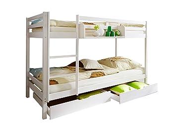 Ticaa Etagenbett Rene : Ticaa etagenbett rene kiefer massiv weiß amazon küche haushalt